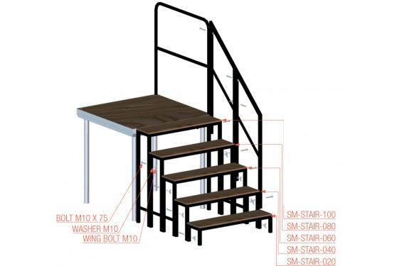 Prolyte marche d 39 escalier modulable pour sc ne en - Hauteur marche d escalier ...