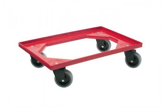 Chariot de transport avec 4 roulettes pivotantes en caoutchouc pour bacs 600x400mm ou 400x300mm - Roue caoutchouc chariot ...
