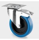 TENTE - Roulette Bleu Pivotante avec frein D=125mm  (Neuf)