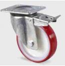 TENTE - Roulette pivotante renforcée avec frein D=100mm - Rouge (Neuf)