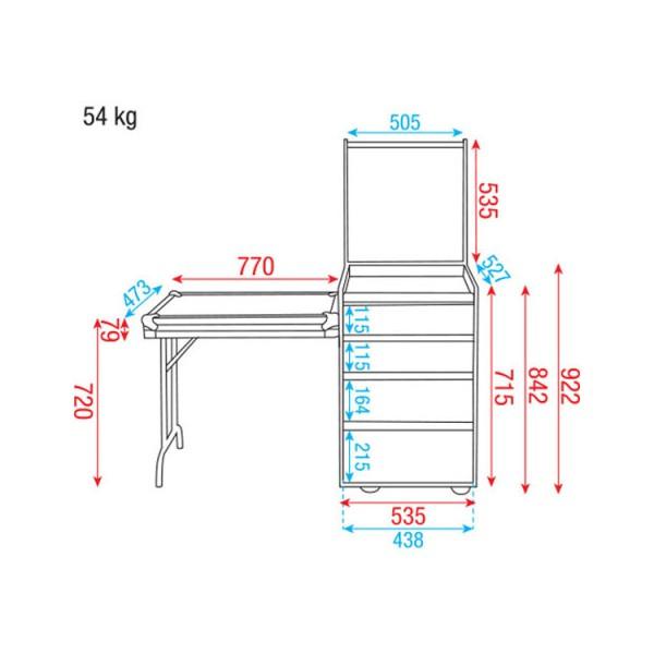 showtec flight case polyvalent 4 tiroirs 12u plan de travail int gr neuf jsfrance. Black Bedroom Furniture Sets. Home Design Ideas