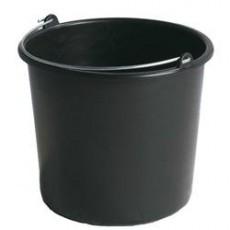 Seau de chantier 12L Standard - diamètre 310mm - hauteur 245mm - Noir (Neuf)